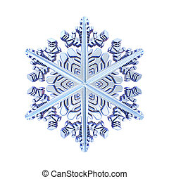 Blue crystal snowflake 3D