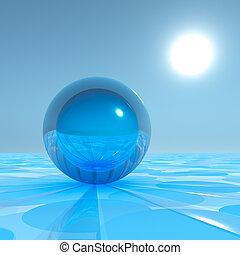 Blue Crystal Sphere on surreal horizon