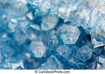 blue crystals Agate SiO2. Macro