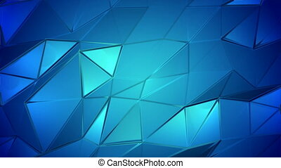 Blue crystals poly abstract animation background