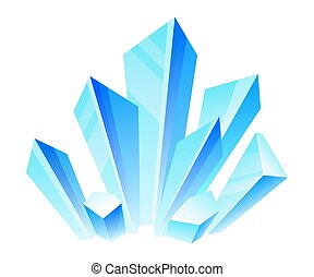 Blue crystals. Vector illustration on a white background.