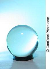 blue csillogó, alatt, egy, kristály labda
