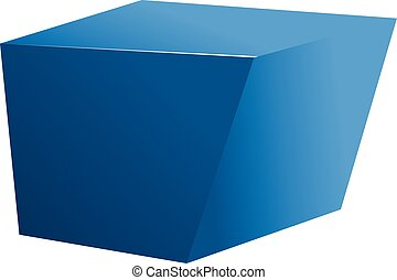 Blue cube icon, cartoon style