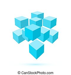 Blue cube icon. Logo template