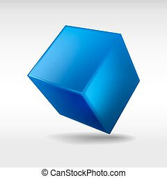Blue cube isolated on white background. Vector illustration