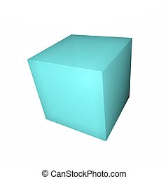 Blue cube isolated over white