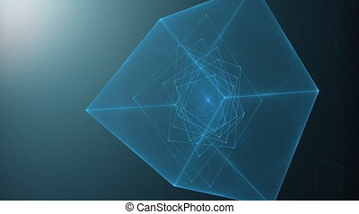 Blue Cube Rotating Loop - Blue cube spinning on black...