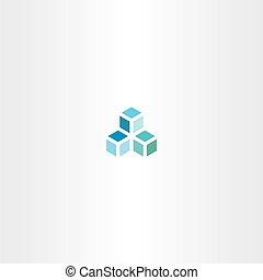 blue cube vector logo icon element