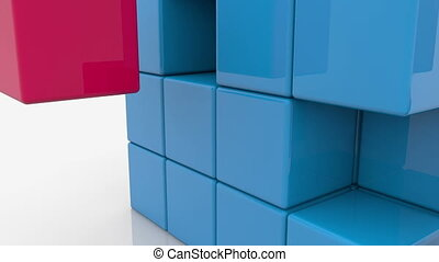 Blue cube with empty spaces