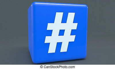 Blue cube with hashtag concept