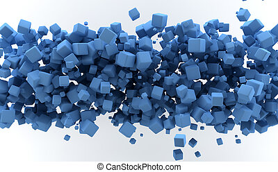 Abstract background with blue colored cubes
