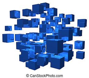 disorder - blue cubes disorder on white background - 3d...