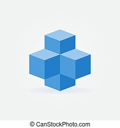 Blue cubes icon - vector blockchain technology sign
