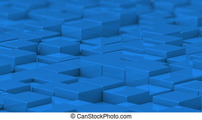 Blue cubes moving up and down in a random pattern. 3D animated motion background loop.