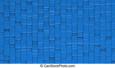 Blue cubes moving up and down in a random pattern. 3D animated motion background loop. Isometric view.