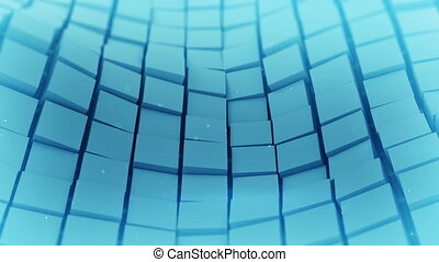 Blue cubes surface waving. Loopable 3D animation