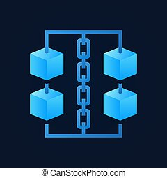 Blue cubes with chain icon - vector blockchain sign