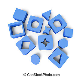 Blue cubes with geometric shapes isolated on white background. 3