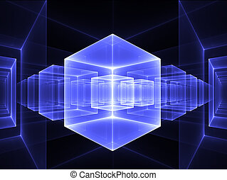 blue cubic perspective - Abstract illustration of blue cubes...