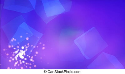 Blue cubis abstraction in the clear space with shiny particles, light and easy background, 3d render backdrop