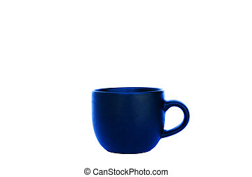 Blue cup Isolated on white backgrounds with clipping path