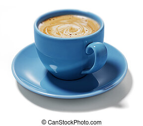 blue cup of coffee - cream coffee in blue cup