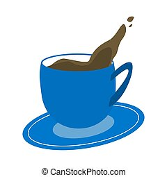 Blue cup of coffee on white background Vector Illustration