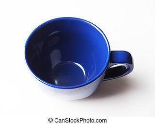 blue cup on a light background
