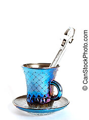 Blue cup with a wrench