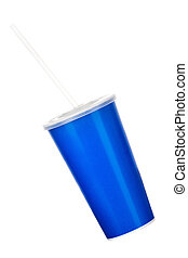 Blue cup with cap and tube isolated on white background