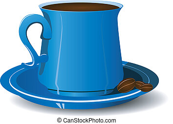 Blue cup with coffee beans on a platter. vector