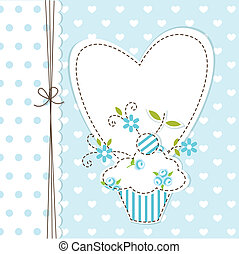 Blue cupcake background