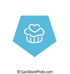 Blue Cupcake Icon, Pentagon Shape Icon Design, Simple Vector Logo Design