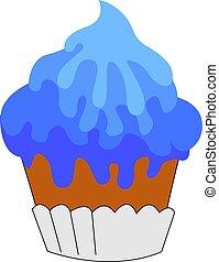 Blue cupcake, illustration, vector on white background.