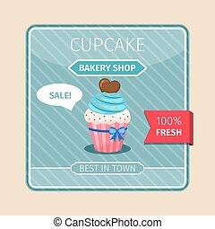 Blue cupcake with chocolate heart card