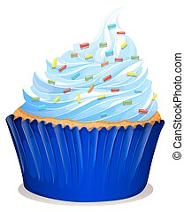 Blue cupcake with frosting