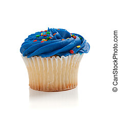 Blue Cupcake with sprinkles on white