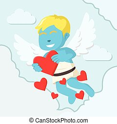 Blue cupid boy showing love letter colorful
