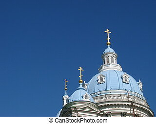 Blue cupolas of St.Trinity Cathedral Upon deep slue sky