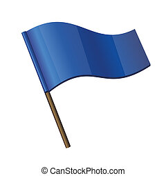 Blue Curl Flag on white background. Vector Illustration.