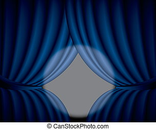Blue curtain background with spotlight in the center, illustration