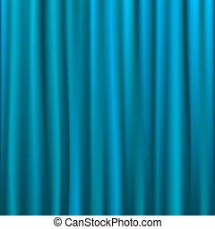 Blue Silk Curtain, Vector Illustration