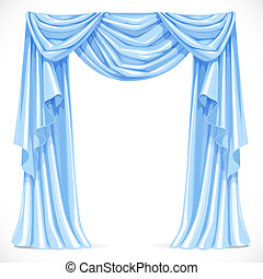 Blue curtain draped with pelmet isolated on a white background