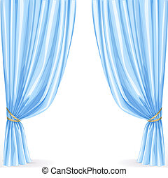 Blue curtain isolated on a white background