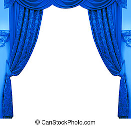Blue curtain isolated on white background
