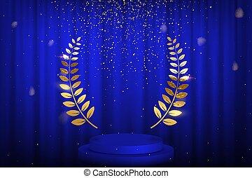 Blue curtain, laurel twigs realistic illustration. Golden glitters, bokeh effect. Retro crimson background for text. Winner wreath for cinema festival award nominee. Round frame on velvet backdrop