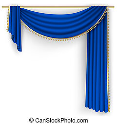 Blue curtain on the white background. Mesh.