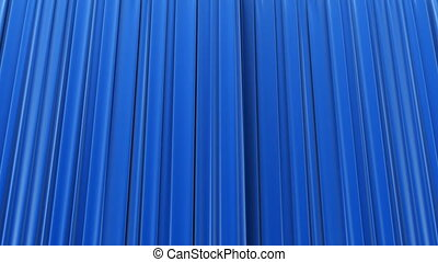 Highly detailed 3d animation of Blue curtain opening and closing with green screen, Perspective view bottom-up. HD 1080.