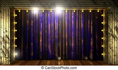 blue curtain stage with loop lights