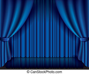 Blue curtain vector illustration - Blue curtain performance...